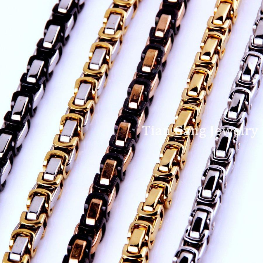 "7~40"" 4/5/8mm Charming Jewelry 316L Stainless Steel Silver/Gold/Black/Rose Gold Byzantine Box Chain Mens Women Necklace/Bracelet"