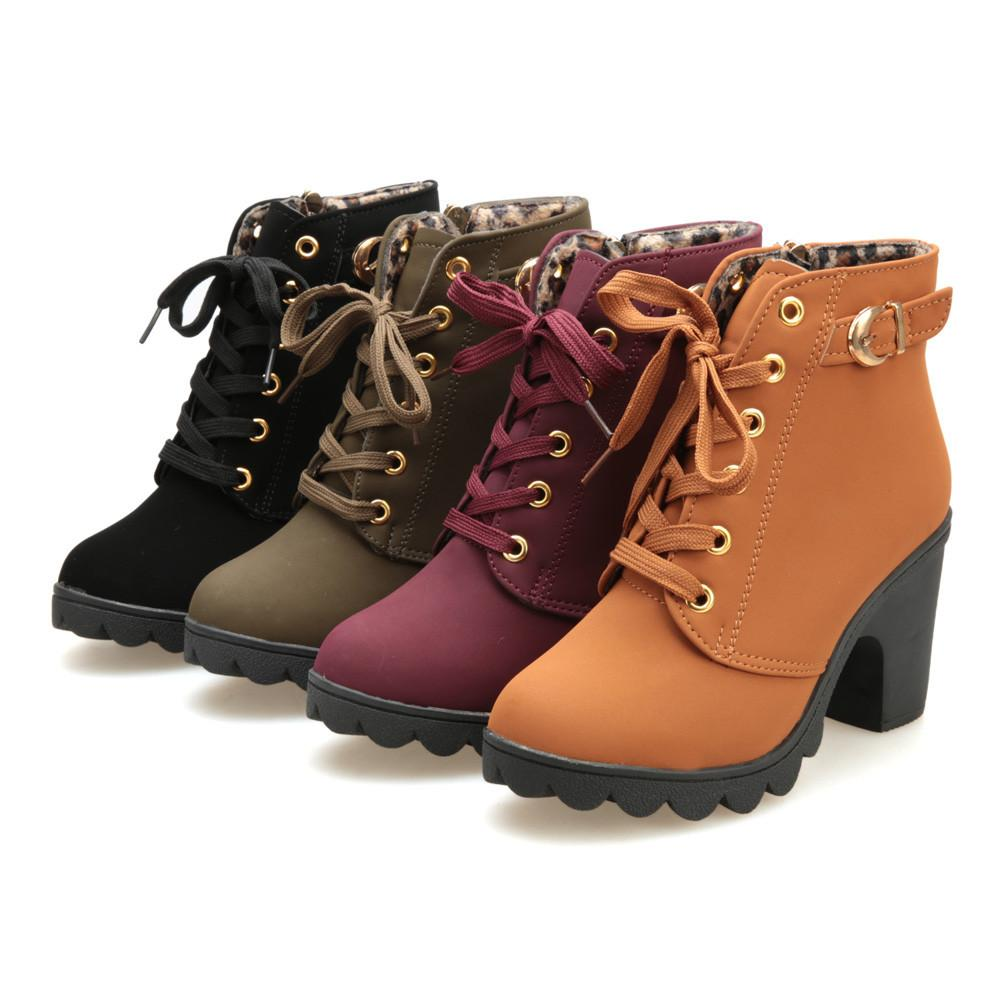 4d4da691433a Hot Sale Womens Boots Fashion High Heel Lace Up Ankle Boots Ladies Buckle  Platform Shoes Winter Warm Fur PU Leather Boots Sep Bottines Mens Boots  Thigh High ...