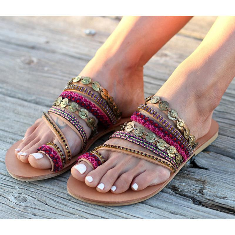 e35554235dc3 2018 Summer New Women S Gladiator Sandals Slippers Retro Rome Style Ladies  Flat Sandal Hand Made Bohemia Slippers Girls Big Size Wedges Shoes Nude  Shoes ...