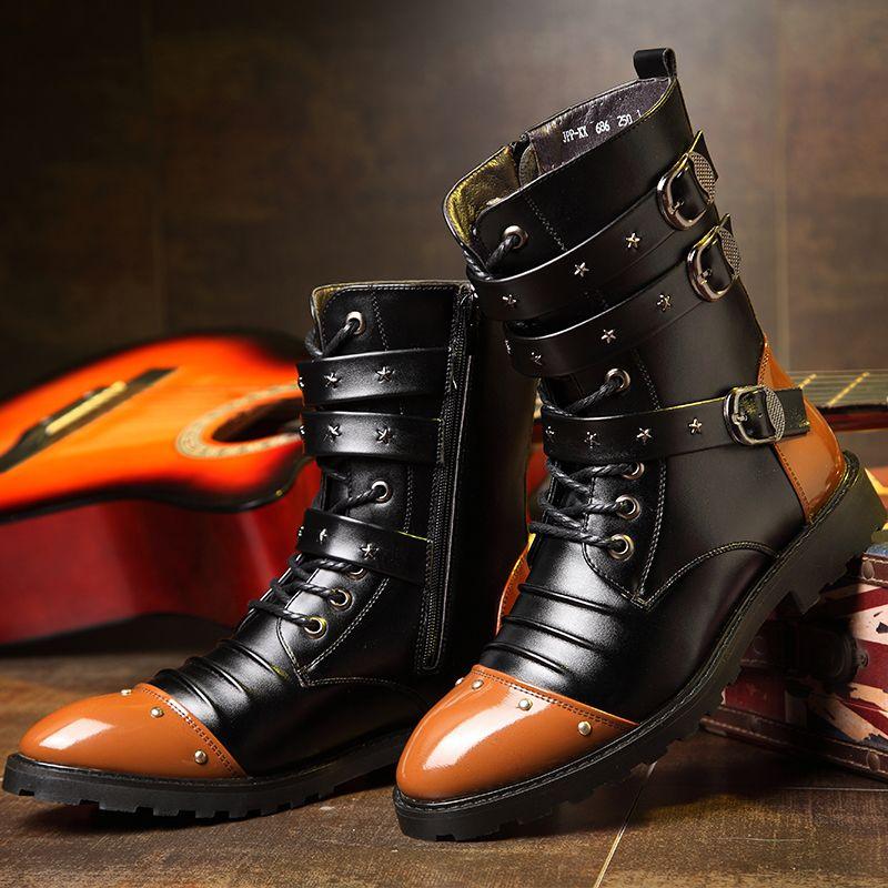 b1590662656 Compre Moda 2019 Hombres Botas De Moto Para Hombre De Cuero Botas De  Zapatillas De Deporte De Marca De Lujo Para Hombre Zapato Casual Marrón  Negro Martins ...