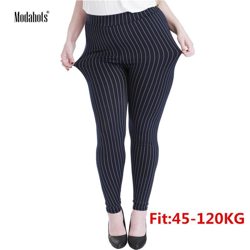 fd4feafce3fe07 2019 Plus Size Women Leggings 5XL Faux Denim Jeans Jeggings Black Vertical  Stripes Legging Large Stretch Skinny Pencil Pants Femme From Wqasysos