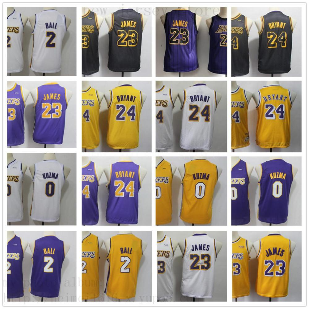 brand new 50b2e a7888 Youth Men Los Angeles LeBron #23 James Jersey Kids Lonzo #2 Ball Kyle #0  Kuzma Kobe #24 Bryant Children Boys Basketball Jerseys