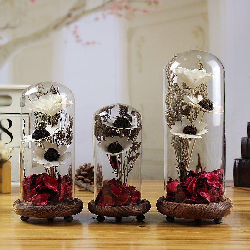 Crystal Seal Vase Dried Flowers Terrarium Home Decor Glass