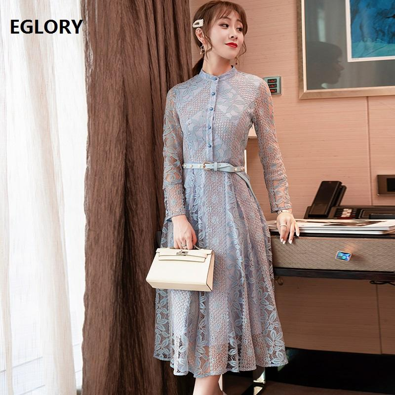 0384767581 Hollow Out Embroidery Dress 2019 Spring Summer Party Tunic Dress Women  Stand Neck Allover Lace Crochet Blue Lace Vestido Dresses Of Women Summer  Dress ...
