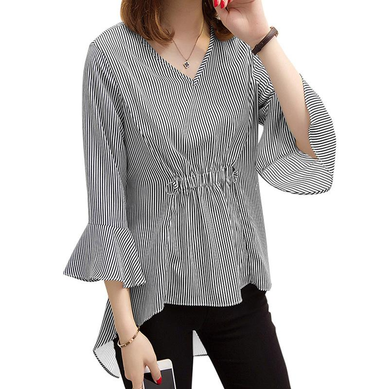8c8c82d69d5d5a 2019 Women Striped Blouse Flare Sleeve V Neck High Low Hem Autumn Tunics  Camisas Elastic Waist Elegant Long 5XL Plus Size Shirt Top From Your07, ...