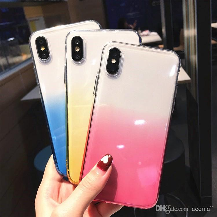 Ultra Slim Double Color Gradient Case For iPhone 11 PRO Max 7 8 Plus X XS Samsung Note10 S10 Silicone Soft TPU Protection Back Cover