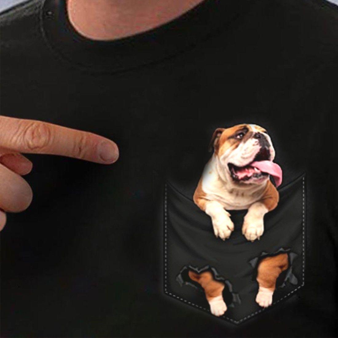 English Bulldog Inside Pocket T Shirt Dog Lovers Black Cotton Men S-6XL  mens pride dark t-shirt fan pants t shirt
