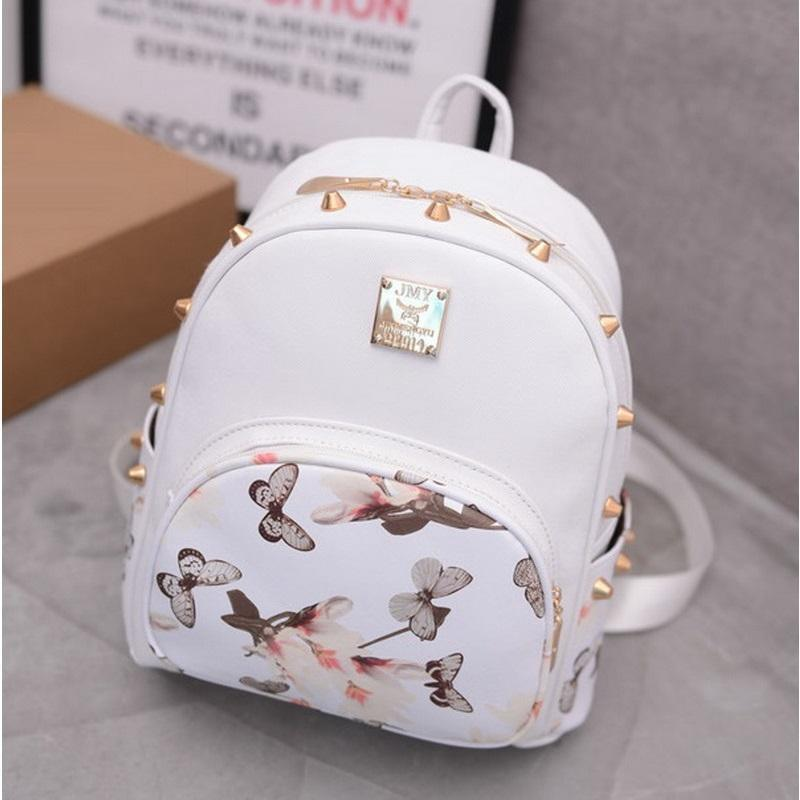 77621f584d9 Wholesale- Butterfly Printing Small Korean Backpack Women Leather Backpack  White Pretty Style School Bag For Teenages Girls On Sale Rivet