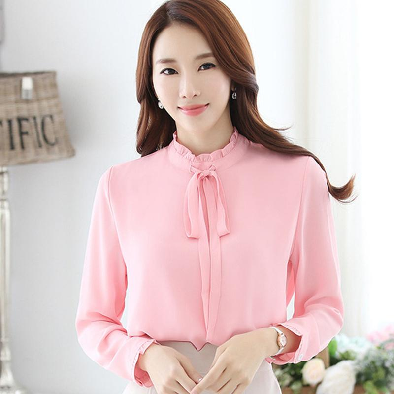 e3293b96d4927d 2019 2019 New Spring Autumn Women Tops And Blouses Office Ladies Blouse  Fashion Long Lantern Sleeve Bow Slim Shirt Female Blusas From Jingju, ...