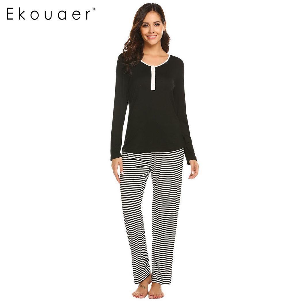 a8915b6bec 2019 Ekouaer Pajamas Sleepwear Sets Women Casual Solid Long Sleeve Tops And  Long Pants Cotton Pajama Sets Nightwear Two Pieces Pajama From Yujinnice