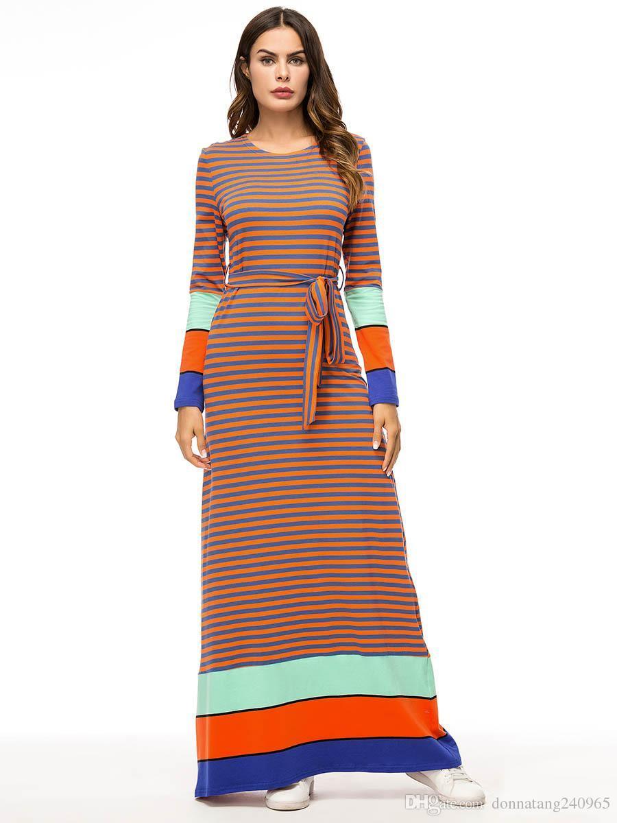 c9eb147b642e6 Casual Striped Long Dress Maxi Abaya Full Dresses Ankle-length Plus Kimono  Loose Robe Gowns Muslim Middle East Islamic Clothing 7345