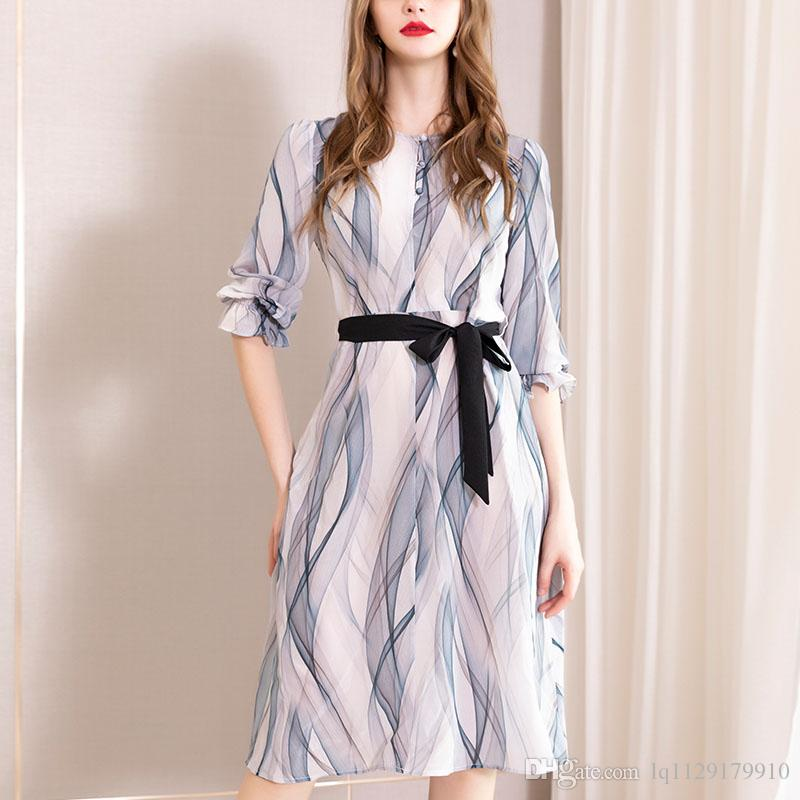 2019 Summer new printed silk dress long temperament mulberry silk a dress big high-end women's dress
