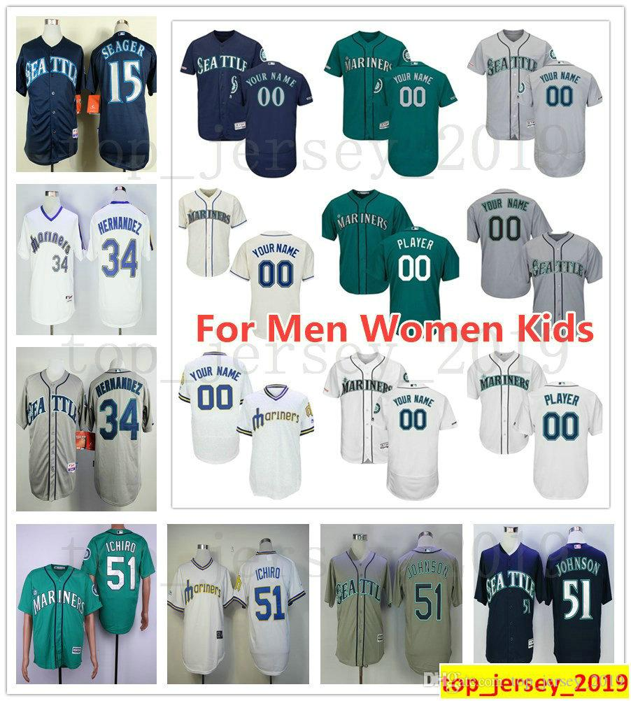 39f4fe2dd38 2019 Seattle Baseball Mariners 51 Ichiro Suzuki 11 Edgar Martinez 24 Ken  Griffey Jr. 51 Randy Johnson 34 Felix Hernandez 17 Mitch Haniger Jersey  From ...