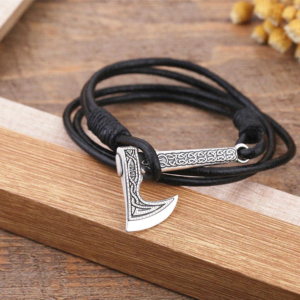 c9b5da0ea656 Teamer Joyas para hombres Ax Wrap Pulsera vikinga Accesorios de cuero para  hombres Hacha de plata antigua Hecha a mano Pulsera pirata para hombre