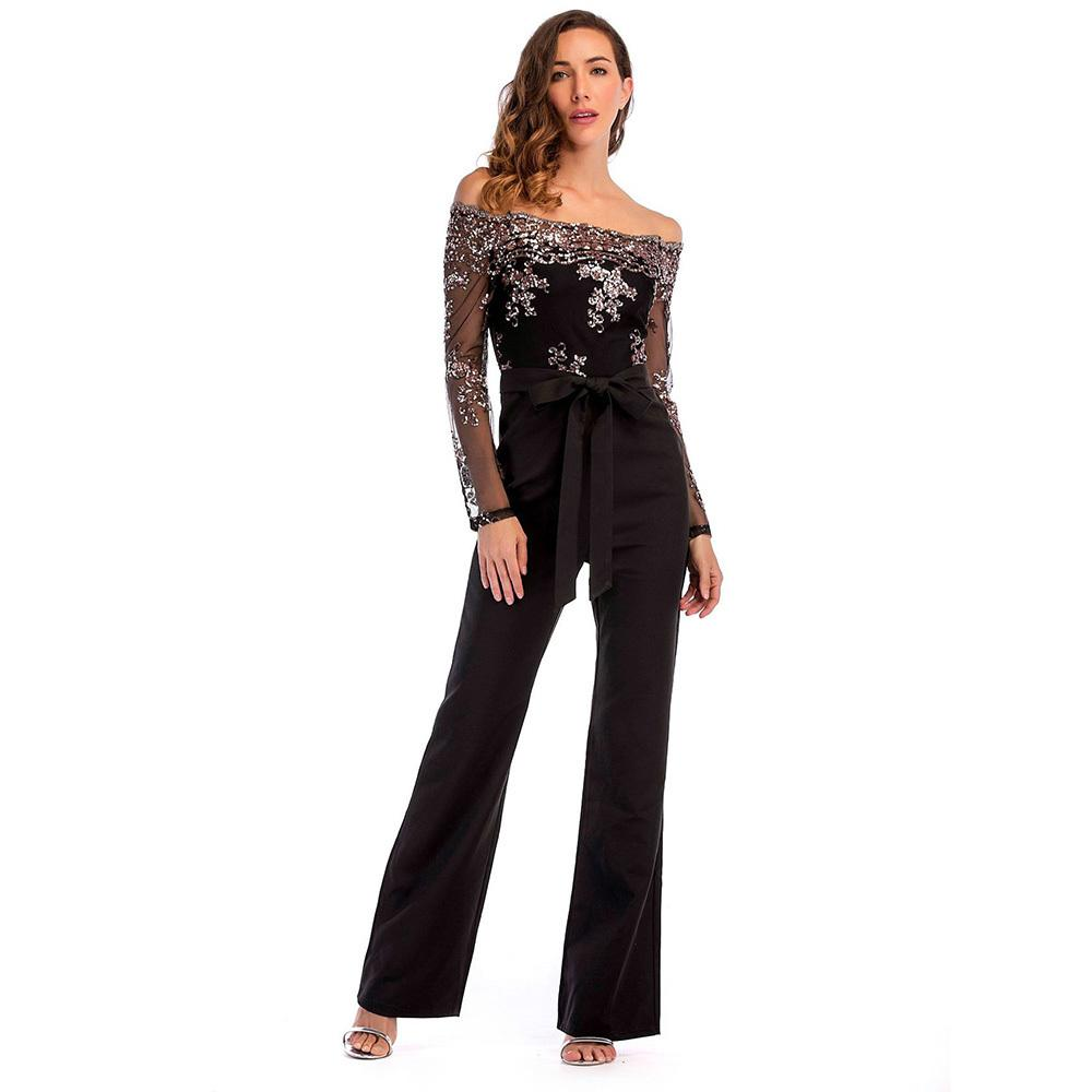 0a181716f0 Women Summer Slash Neck Sequined Jumpsuit Sexy Long Straight Pants Elegant  Rompers Floral Print Office Lady Backless Jumpsuits D19011501 Online with  ...