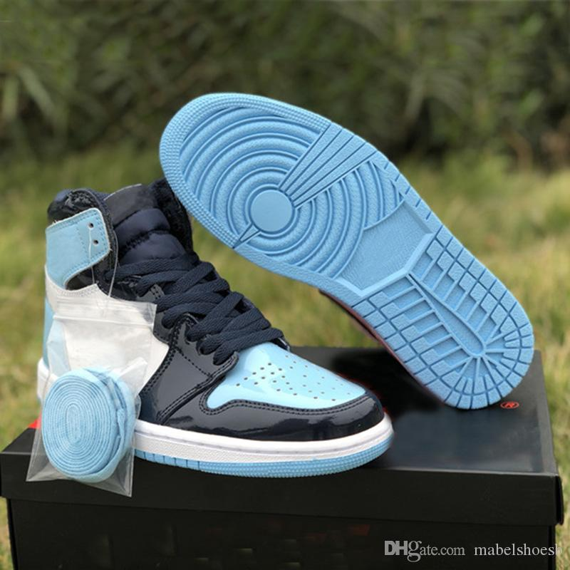 1s High OG Blue Chill Men Womens Basketball Shoes 1 UNC Patent WMNS ASG  Obsidian Outdoor Boots All Star Game Top Quality Sneaker Cheap Shoes 4e  Basketball ... abe341f956