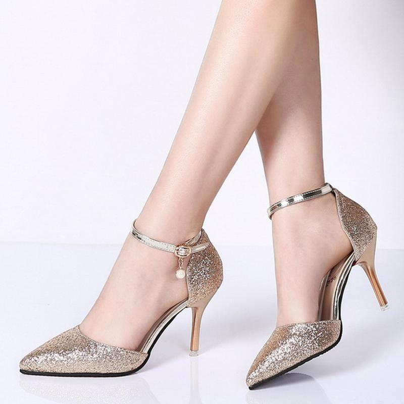 2f3baf6dd3c Rimocy Elegant Ladies Shinning Glitter Gold Silver Pumps 2019 Sexy Pointed  Toe High Heels Ankle Strap Wedding Party Shoes Woman
