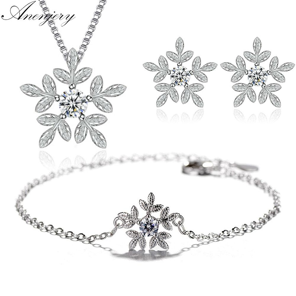 Snowflake Parure 925 Silver Parure Snow Flake Sterling Silver Jewelry & Watches