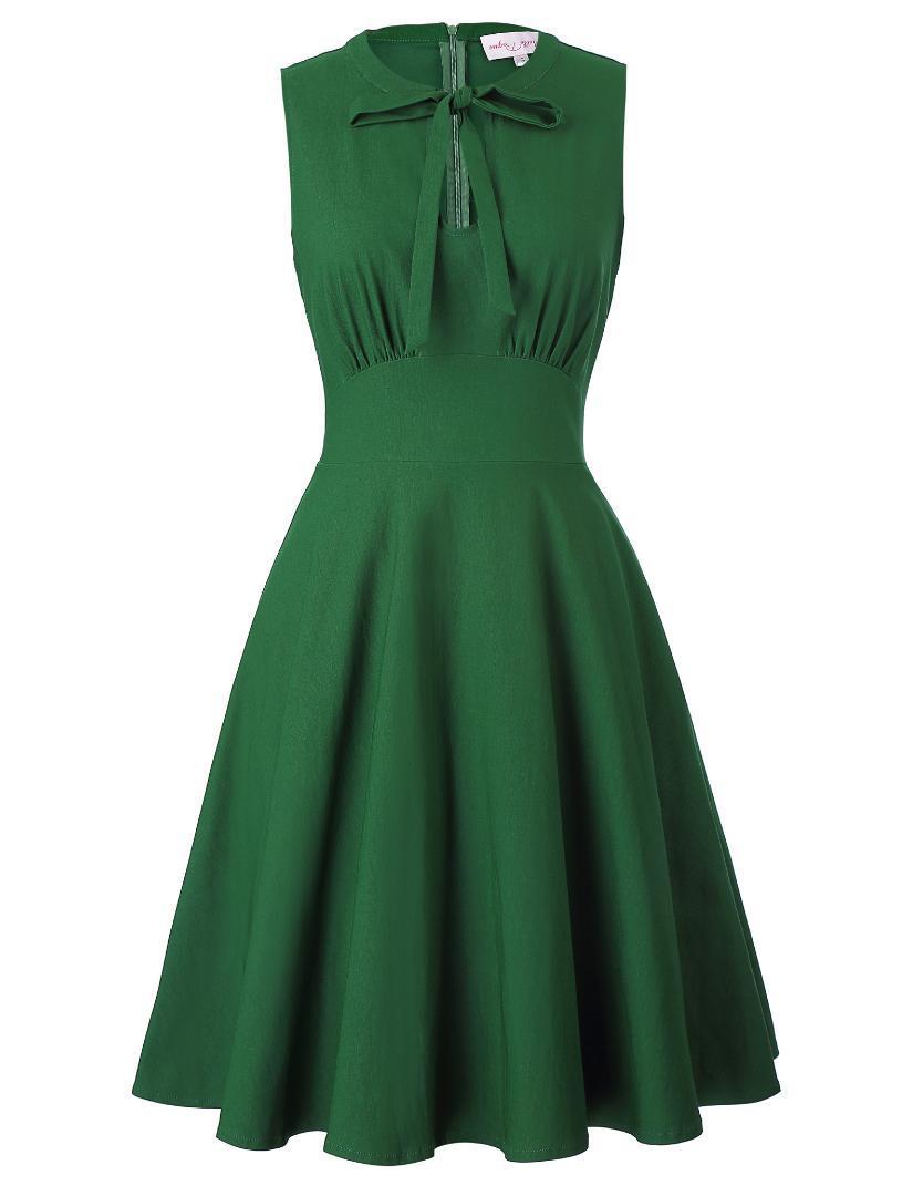 4340efb1e Compre Vestidos Estilo Vintage De La Década De 1950 Para Mujer Fiesta De La  Noche Ama De Casa Swing Vestido De Una Línea De Bowknot Verde Diseño  Fruncido ...