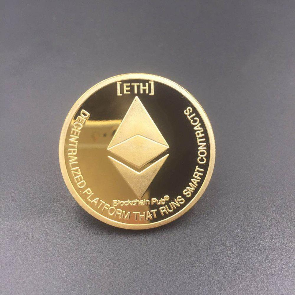 Gold Silver Plated Ethereum Coin Replica Art Collection Gift Physical Metal Antique Imitation Non-currency Coins Collectibles