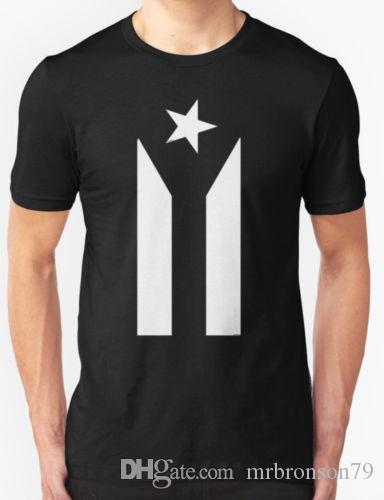 Rico Bandera Hombres Puerto Protesta Negro Blanco Camiseta zUMVpSq