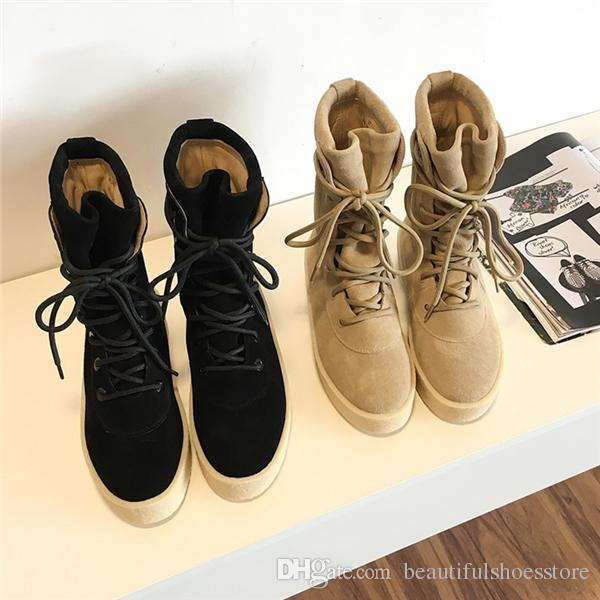 Chaussure Homme Kanye Western Shoes Men Military Crepe Boots Black Camel Tactical Army Ankle Boot Lace Up Autumn Platform Flat Botas Hombre