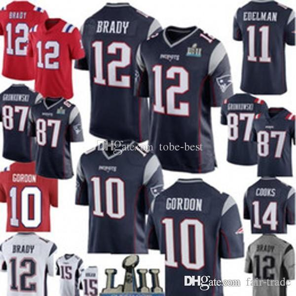 37859812d 10 Josh Gordon 12 Tom Brady New Patriot Jersey 11 Julian Edelman 15 ...