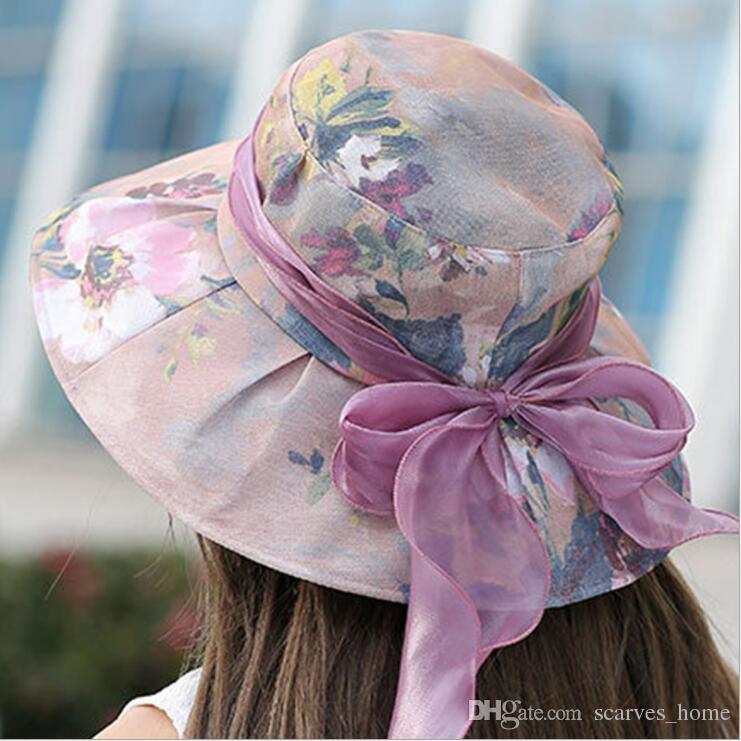 Fashion Women Floral Organza Church Hat Wide Brim Kentucky Derby Mesh Hats  Summer Beach Sunhat Wedding Caps Sun Protection A1 Fedora Hats For Women Hat  Shop ... b0c650312651