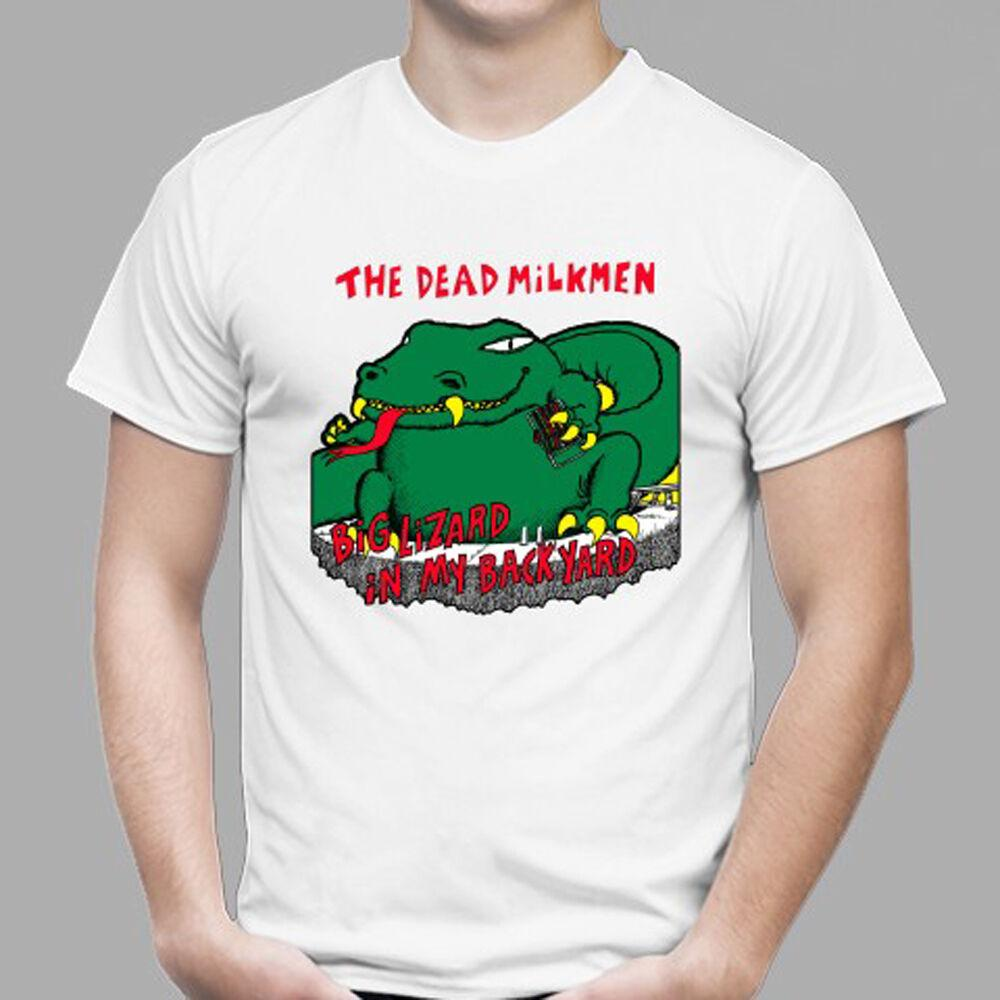 New The Dead Milkmen Rock *Big Lizard Men's White T-Shirt Size S - 3XL