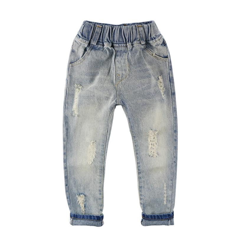 6af3c782a Fashion Boys Jeans Baby Girls Jeans Children Clothing Elastic Waist Casual Ripped  Denim Pants Trousers Kids Clothes For Boy Girl Y19051504 White Boys Jeans  ...