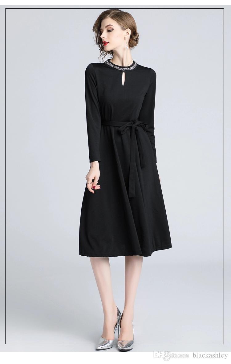 db58eace0da24 Satın Al Kadın Elbise Sonbahar Kış Avrupa Tarzı Bayanlar Diz Boyu Vintage  Zarif Siyah Parti Elbiseler, $100502.52   DHgate.Com'da