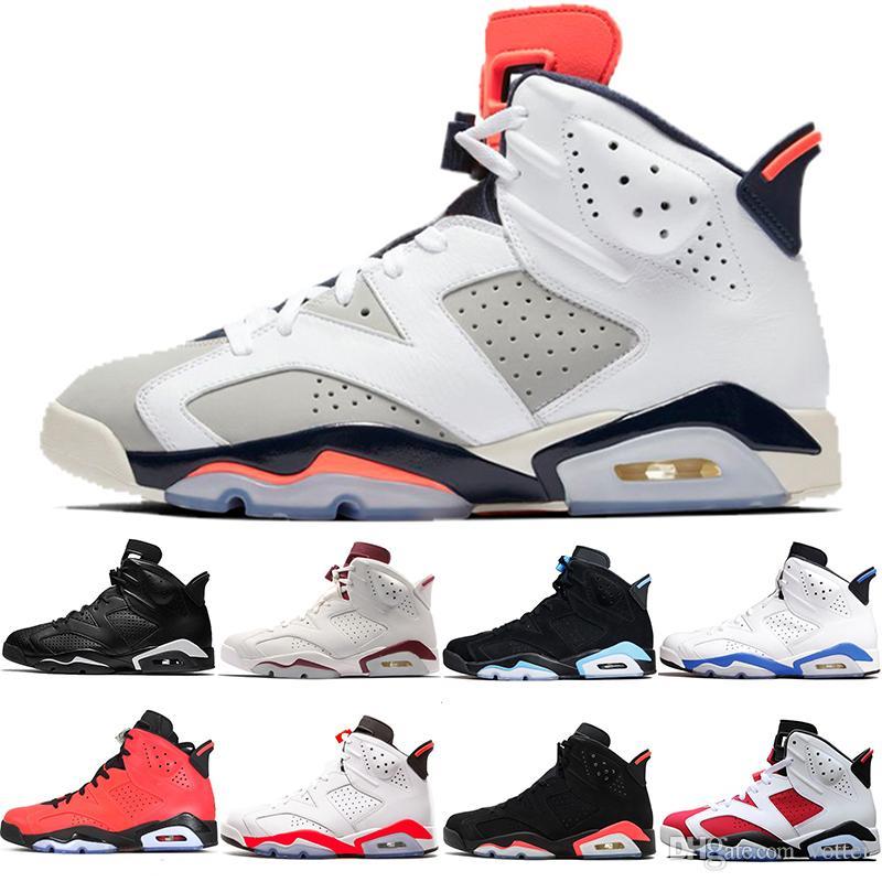 812017e9688 Men 6 6s Basketball Shoes Tinker UNC Blue Black Cat White Infrared Red  Carmine Maroon Toro Mens Designer Trainer Sport Sneaker Size 41 47 Girls  Basketball ...