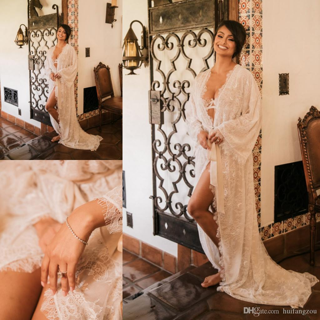 99359ef9ff3 2019 Sexy Lace Wedding Sleep Dresses With Long Sleeves Illusion Tulle  Delicate Appliques Belt Sweep Train Bridal Nightgowns Women Sleepwear From  Huifangzou
