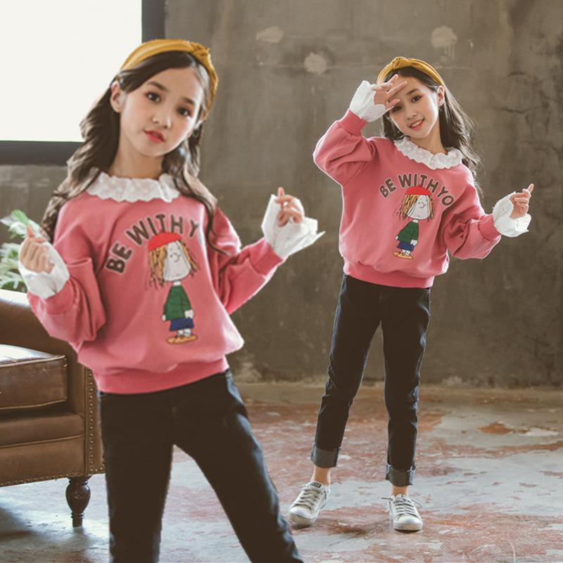 312d9ed9910a Autumn Winter Cartton Kids Baby Children Girls Clothing Sets Lace Collar  Letter Sweater + Jeans Suit Cartoon Set Outfit CA324
