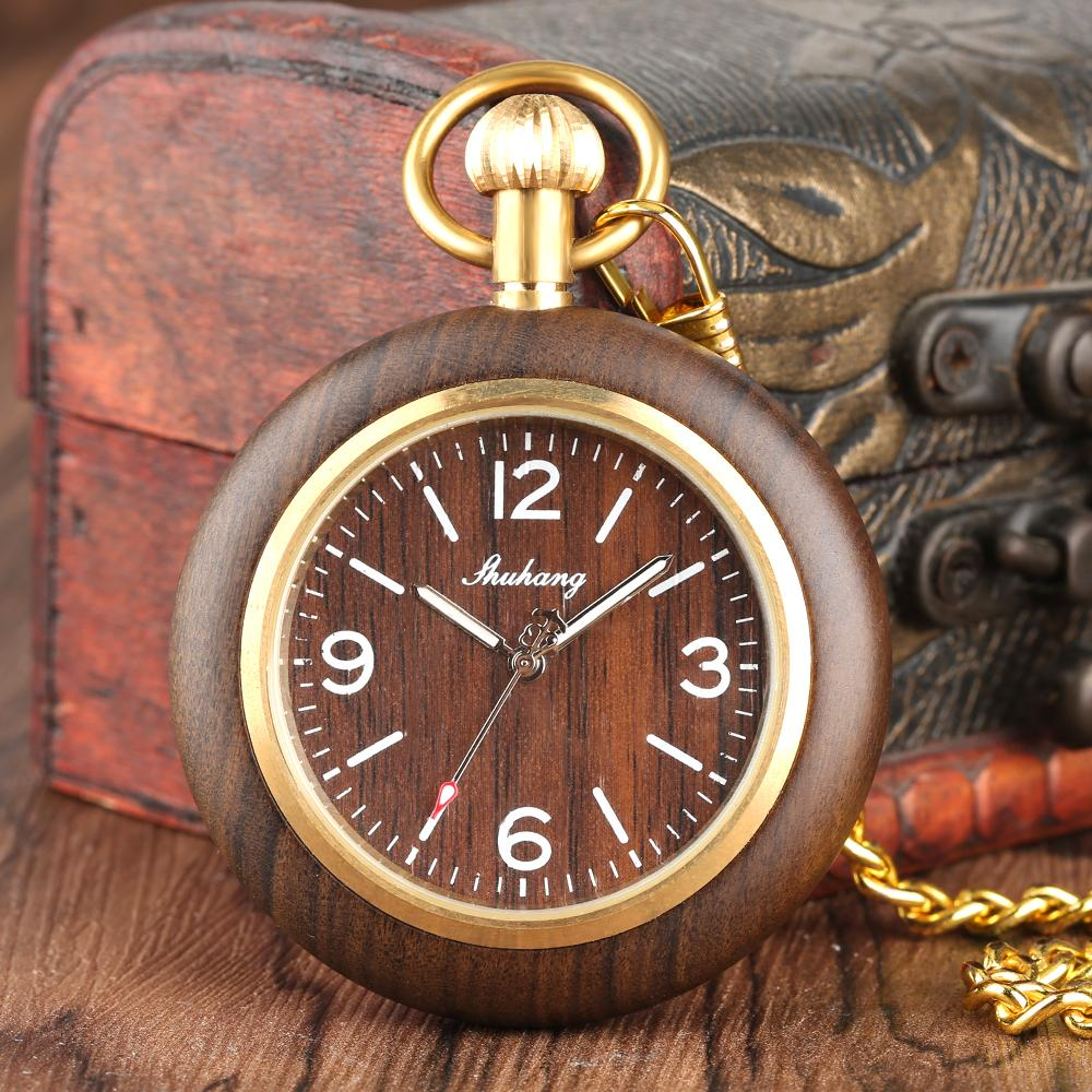 964885f4f Bamboo Wood Quartz Pocket Watch For Men And Women, Arab And Roman Wooden  Box Pocket Watches For Male, Gift Watch Man Old Gold Pocket Watches Modern  Pocket ...