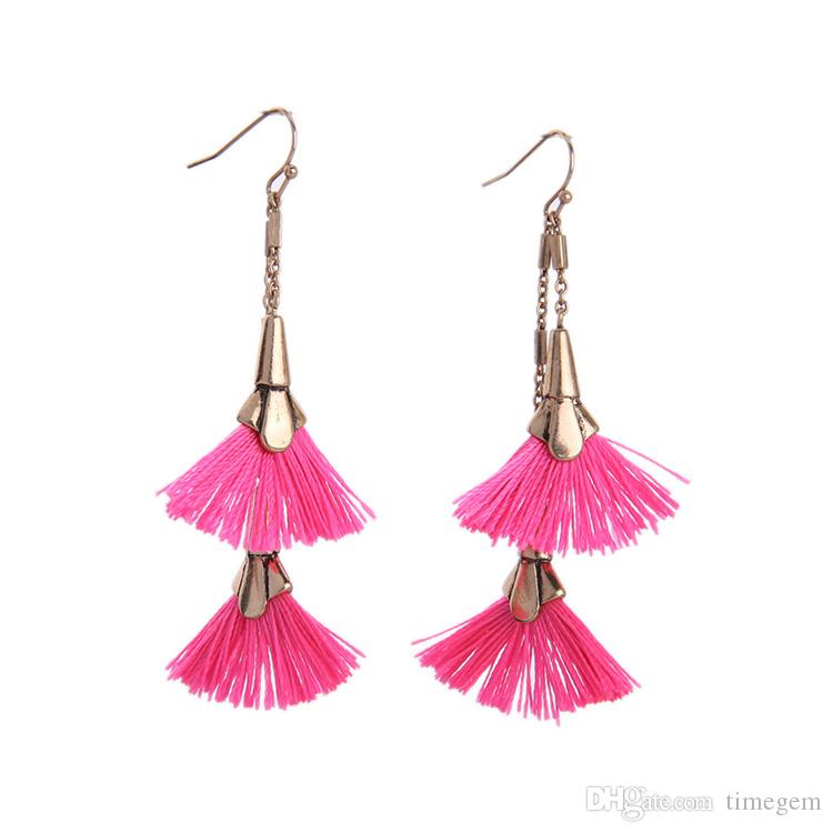 European and American Popular and Fashion Long Alloy Vintage Fan Tassel Dangle Earrings for Women E5441