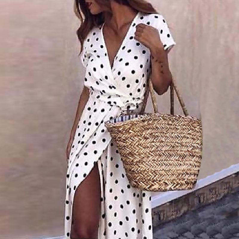 Women Boho Polka Dot Summer Beach Long Dress Evening Party V-neck High Waist Split A Line Maxi Dress Prairie Chic Femme Vestido Y190507