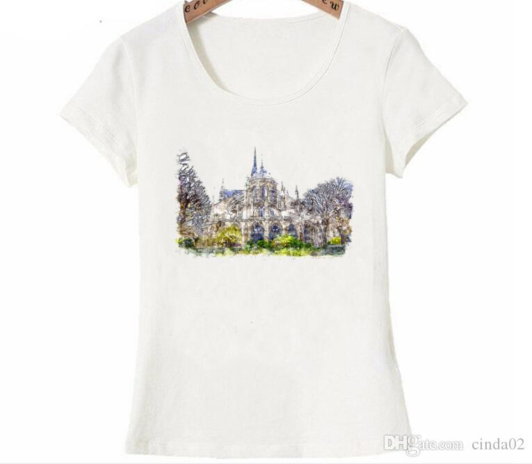 Grosshandel Charme Notre Dame De Paris Aquarellkunst Gedruckt T Shirt