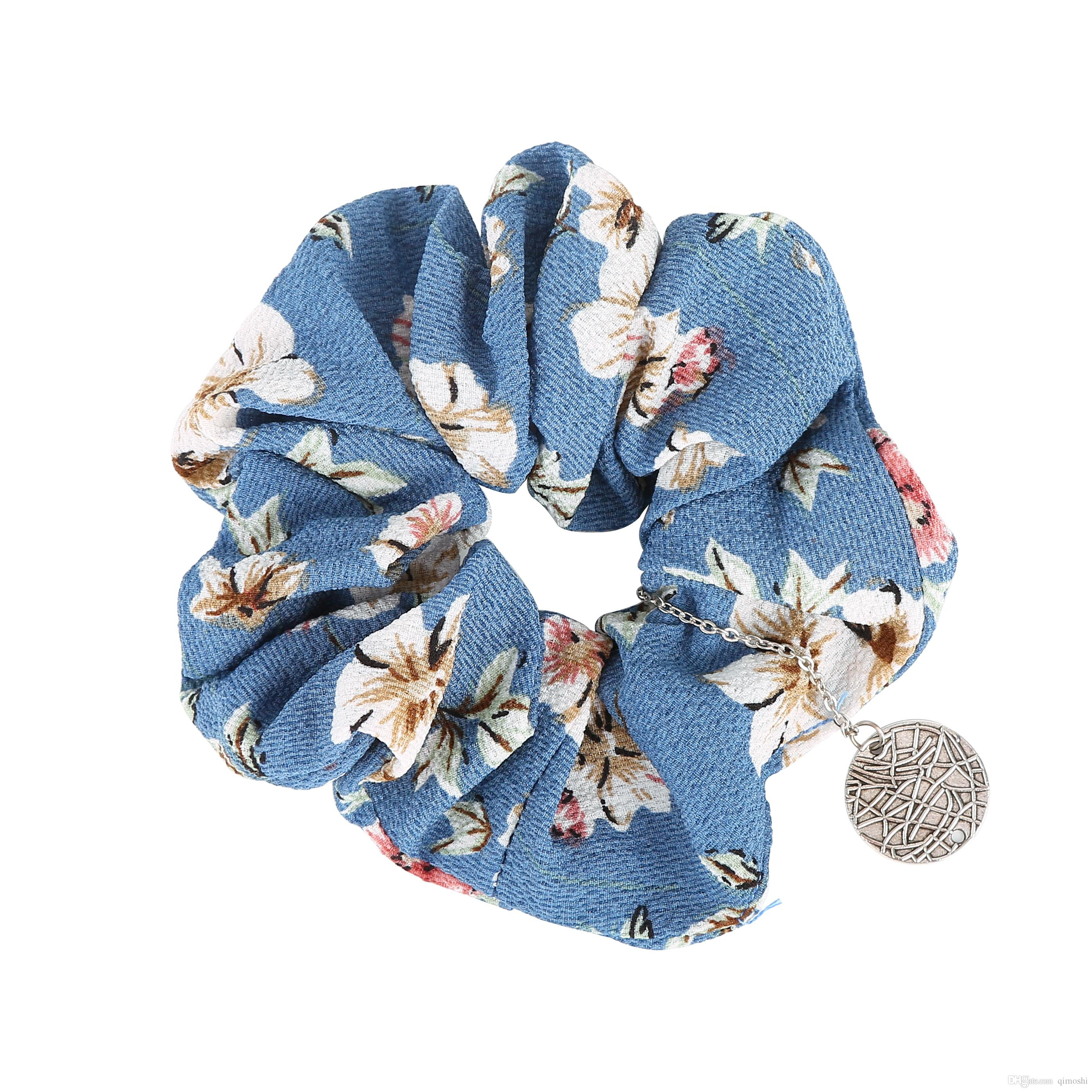 Small fresh floral large intestine circle seamless stretch fabric hair ring hair rope female jewelry