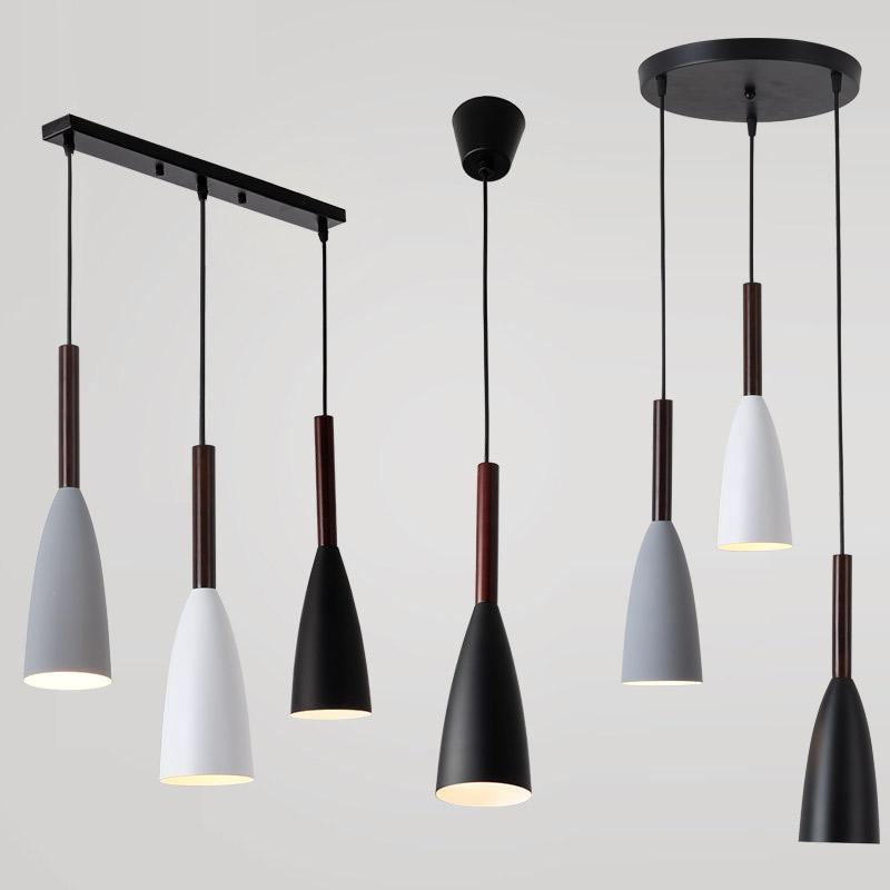 Luces colgantes de estilo nórdico LED Lámpara Colgante Comedor Suspensión  luminaria lámpara de madera para la iluminación del hogar lámparas  colgantes ...