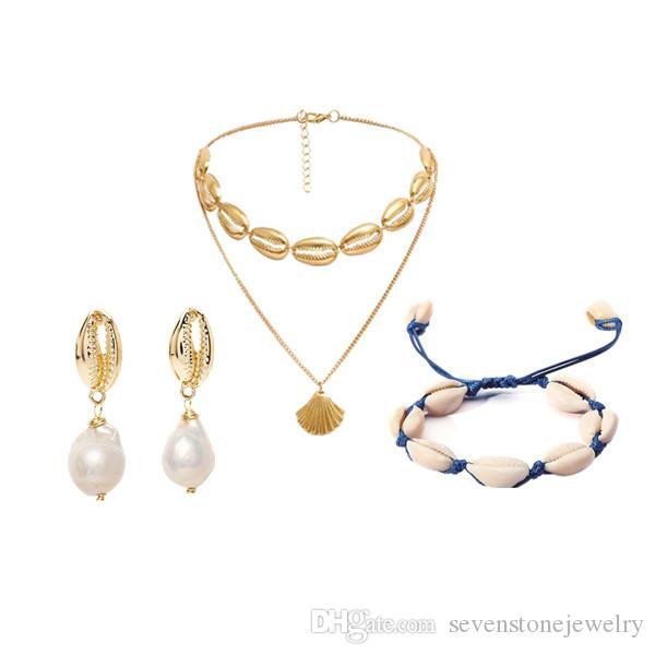 69b569d77779 Compre Moda Mar Concha Estrellas De Mar Imitación Collar De Perlas ...