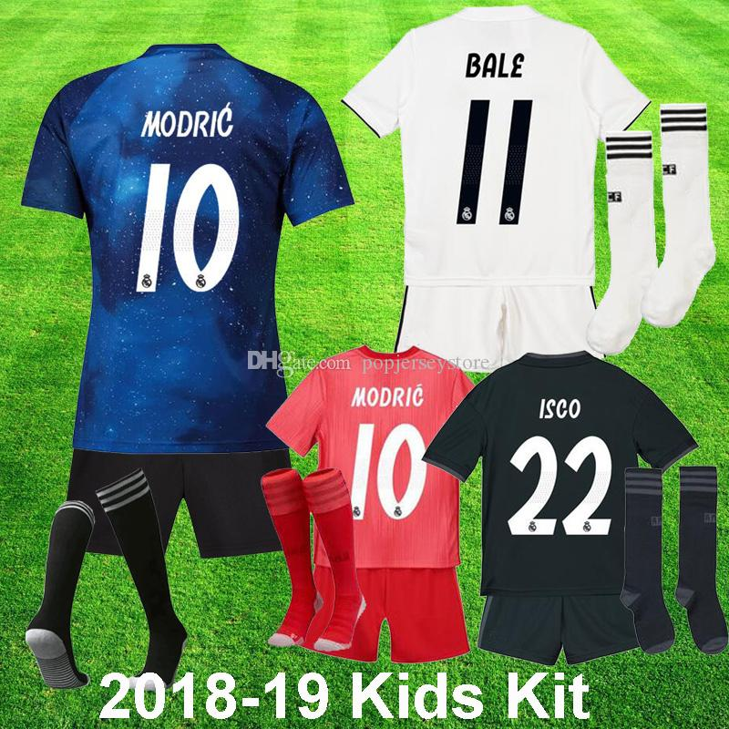 2b19c88593c 2018 19 Real Madrid EA Sports Soccer Jerseys MODRIC Kids Kit BALE ...