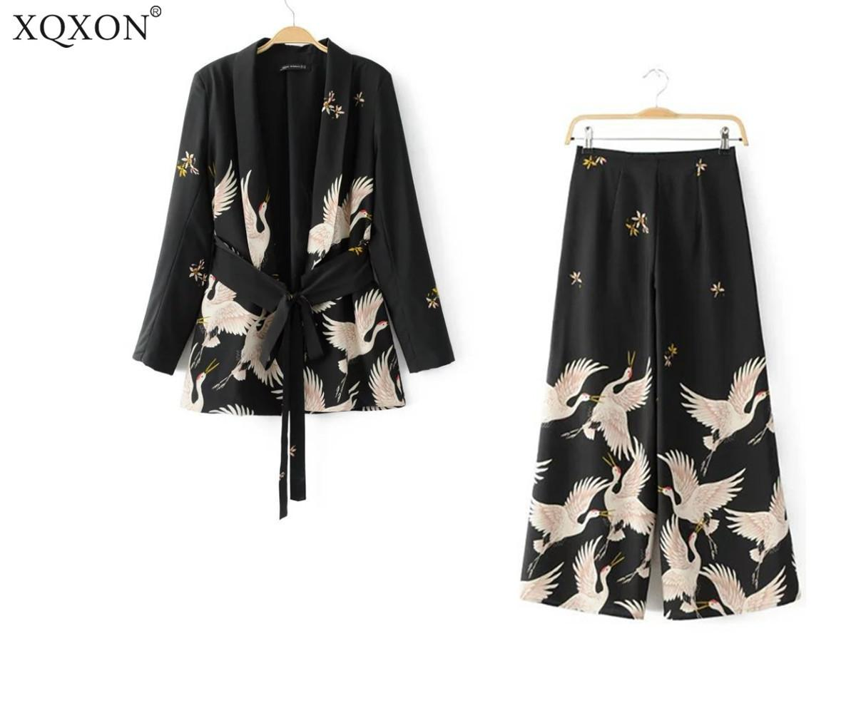 4398c3357 2019 2019 New Women Palazzo Vintage Clothing Sets Crane Printed Blazer Wide  Leg Retro Pant Female Bird Printed Outfit Pant Suits Q190415 From Tai03, ...