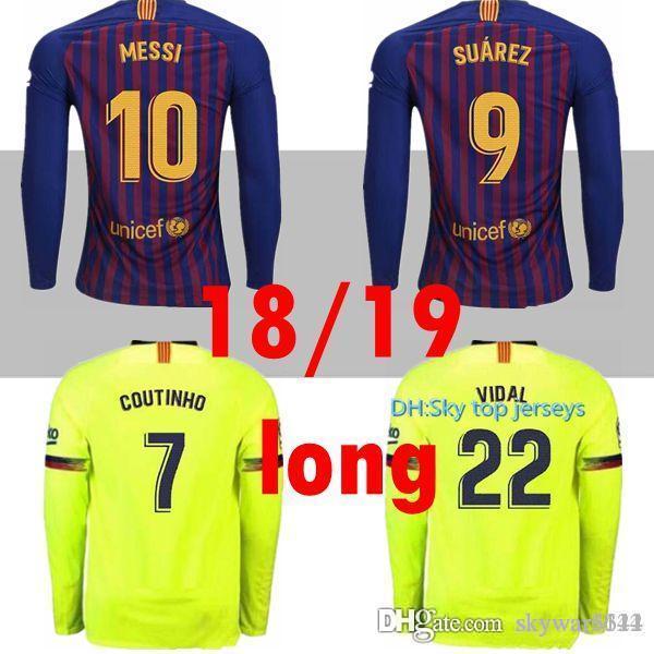 0c39545565a 2019 2018 2019 Long FC Barcelona MESSI Soccer Jersey Men Home Away Pink Man Kits  18 19 Suárez DEMBELE COUTINHO Football Shirt Top Thai Quality From ...