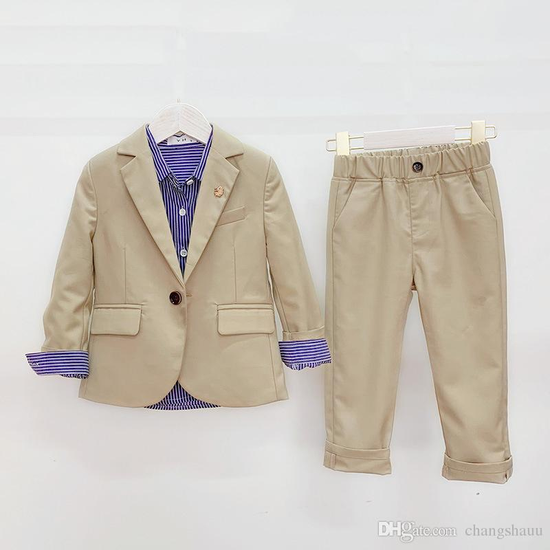 Children's Handsome Solid Color Suit Sets Boys Party Piano Performance Prom Costume Kids Blazer Pants 2pcs Outfits