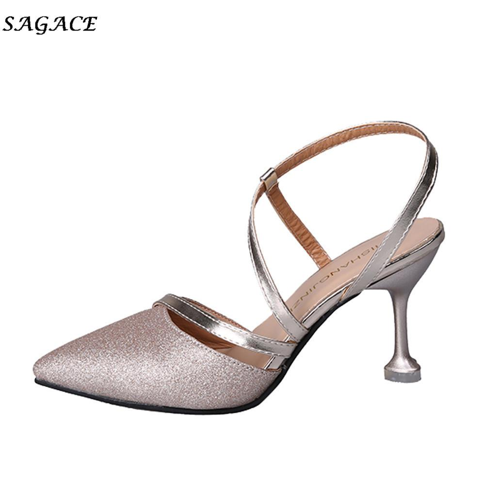 2d0627761ce Dress Shoes Sagace Women 2019 Zapatos Mujer Sandals Ladys Sexy Thin Shallow  Sandals Sequins T Strap Pointed Toe High Heels Black Shoes Nude Shoes From  Deal0 ...