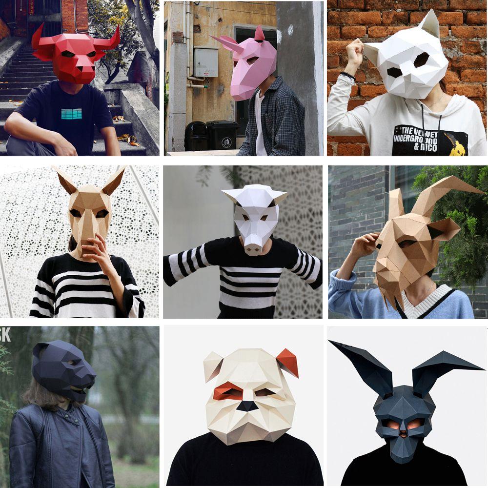 Creative Handwork Animal Mask Cat Paper Matrix Cosplay 3D DIY Mask