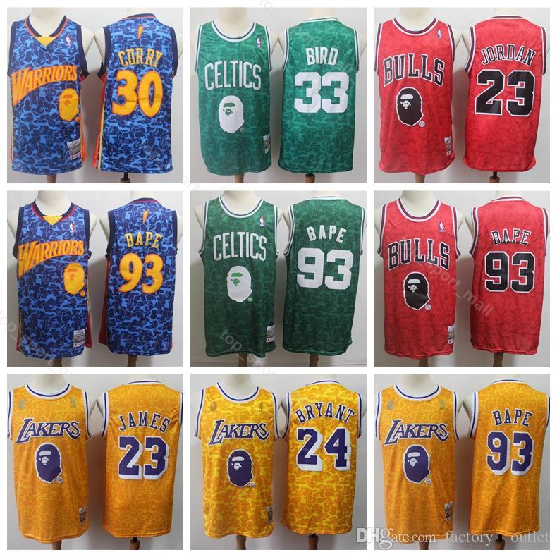 lowest price c454c 7bb48 Men Larry 33 Bird Jersey LeBron 23 James Kobe 24 Bryant 23 Michael Stephen  30 Curry Basketball Jerseys Home Blue Red Yellow Green
