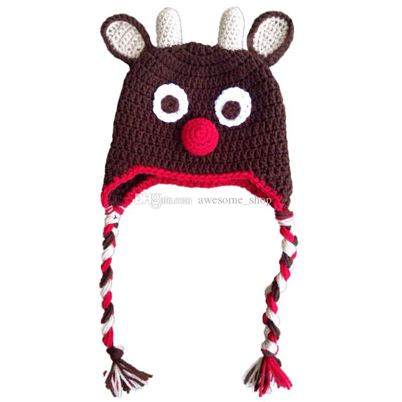 914b01f6e11 Handmade Knit Crochet Rudolph Red Nosed Moose Hat