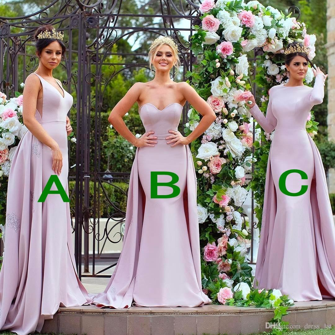 f230b44e04 Winter 2018 Formal Bridesmaid Dresses Long Sleeves Muslim Mermaid Lace  Appliqued Detachable Train Lilac Satin Bridesmaids Dresses Elegant Bridesmaid  Dresses ...
